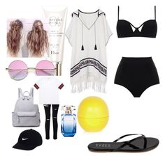 """""""Pool party"""" by lildae on Polyvore featuring MOEVA, Tory Burch, Tkees, Christian Dior, River Island, Miss Selfridge, Gucci, NIKE and Elie Saab"""
