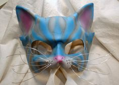 Ready To Ship -- Cheshire Cat Leather Alice in Wonderland Cosplay Mask, Tim Burton Inspired