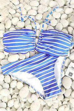 cae534deba Cupshe Sound Of Sea Halter Bikini Set Striped Bikini