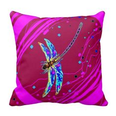 Amethyst Purple Dragonfly Pillow by Sharles