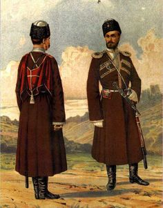 The rider and the ober-officer of the Dagestan Cavalry Regiment. 1896
