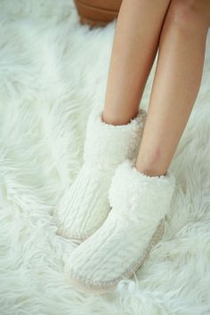 Cable Knit Indoor Slipper Socks - Ivory, Navy, Black or Gray
