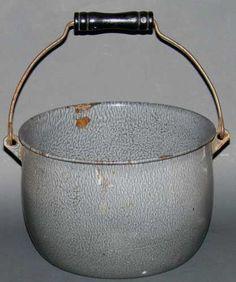 Vintage Grey Mottle Enamelware Graniteware Bucket Pail Wood Handle $19.95
