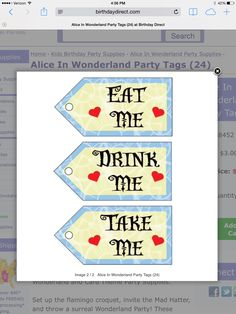 Tags for drinks, food and party favors.