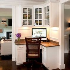 small home office designs with built in furniture in corners LOVE the idea of cornering off a computer space in a large open floor plan