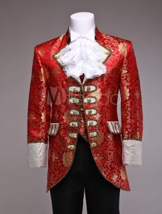 Red Retro Mens Prince William Suits Renaissance King Louise Suit Period Costume