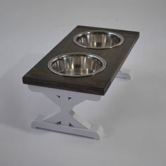 Small Elevated Dog Bowl Stand - Trestle Farmhouse Table Two Bowl Stand