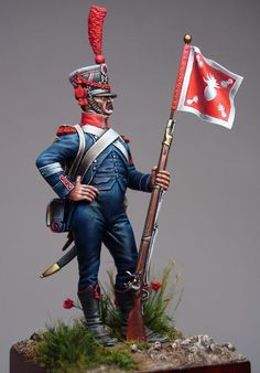 Sergent de carabiniers d'infanterie lйgиre porte-fanion.