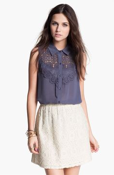 Chloe K Lace Bib Sleeveless Shirt (Juniors) | Nordstrom