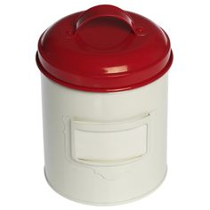 Small Vintage Red Enamel Canister