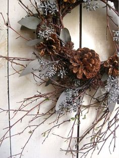 twigs, eucalyptus and pine cone wreath