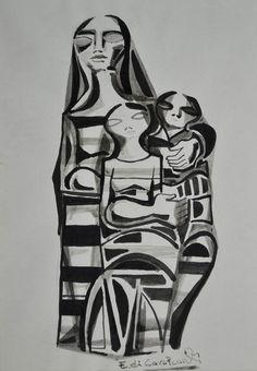 EMILIANO DI CAVALCANTI - (1897 - 1976)    Título: Maternidade  Técnica: desenho a nanquim  Medidas: 24 x 17 cm  Assinatura: centro inferior