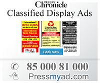 Deccan Chronicle is an Hyderabad Indian English-language daily newspaper. It is published in Hyderabad, India by Deccan Chronicle Holdings Limited. to book your classifieds and display ads on Deccan Chronicle loin to pressmyad.com or call on 85000 81000