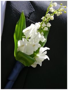 Lily of the Valley & Sweet Pea Boutonniere  Best Man