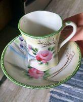 Antique nippon japanese porcelain demitasse cup + saucer rose lake Moriage EC!
