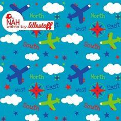 Lillestoff Take off blue Flugzeuge Sterne Wolken B von Stoff-Zaubereien auf DaWanda.com