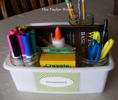 Like the idea of a homework caddy - pencils, markers, scissors all in one place. Makes homework time more official.