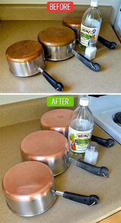Clean copper bottom pans with vinegar and make them look like new again #cleaning