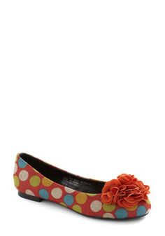 Cake Pop Party Flat in Orange, ModCloth, $34.99 - Fancy flats with lots of colour and personality. Great with a short dress and bright hair ;).