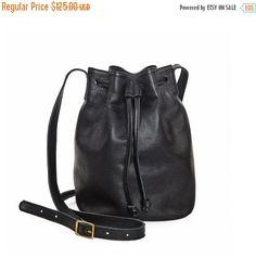 Black crossbody bag leather bucket bag leather by LeahLerner