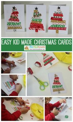 Easy kid made Christmas cards. These homemade washi tape Christmas cards are perfect for children to make and they look amazing.