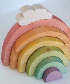 cute simple wooden toys #rainbow
