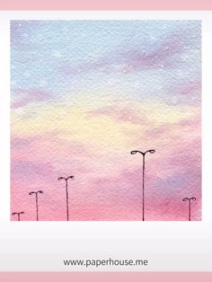 Pink Sky Watercolor Paintings Start the story with our Paul Rubens Glitter/Metallic Portable Watercolor set Watercolor Paintings For Beginners, Watercolor Sky, Watercolor Paintings Abstract, Beginner Painting, Watercolor Ideas, Painting With Watercolors, Acrylic Sky Painting, Abstract Watercolor Tutorial, Tree Painting Easy