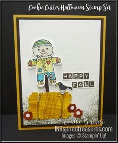 Cookie Cutter Halloween, scarecrow, Happy Fall, Stampin' Up, #stampinup, created by Connie Babbert, www.inkspiredtreasures.com