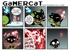 HAHA idk what the hell this is, but it cracks me up.   GaMERCaT - Sacrifice by *celesse on deviantART