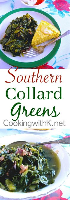 Southern Collard Greens, a delicious Southern dish served in most households all year long, especially around the holidays. In the south, we generally cook large amounts of greens at one time, referring to them as an ole' mess of greens. Southern Dishes, Southern Recipes, Southern Food, Southern Comfort, Southern Fashion, Southern Hospitality, Southern Style Collard Greens, Granny's Recipe, Recipe Ideas