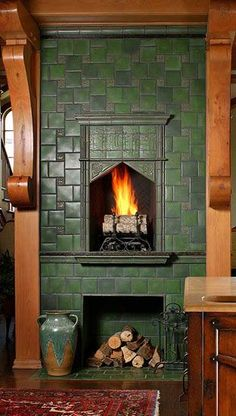 Arts & Crafts Tile Arts & Crafts fireplace tile surround from Motawi Tileworks -- fabulous!Arts & Crafts fireplace tile surround from Motawi Tileworks -- fabulous! Fireplace Tile Surround, Fireplace Surrounds, Fireplace Design, Fireplace Tiles, Fireplace Kitchen, Fireplace Cover, Black Fireplace, Craftsman Interior, Craftsman Style