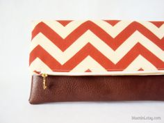 Preorder Listing - Hybrid Clutch - Fold Over Zippered Clutch - Orange Chevron with Brown Vegan Leather - Summer Fall Fashion. $30.00, via Etsy.