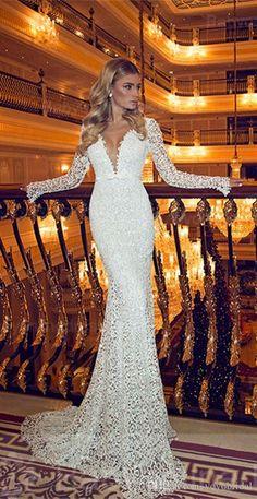 Mermaid Wedding Dress With Long Sleeves Illusion Designer 2017 Sexy Deep V Neck…