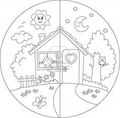 Day and Night Coloring Pages for Kids Science For Kids, Art For Kids, Crafts For Kids, Colouring Pages, Coloring Books, Colouring Sheets, Coloring Worksheets, Kindergarten Worksheets, Pre School