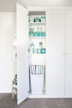 Home- Creating Built In Office Storage with the IKEA PAX system, organized office, home office organization, PAX wardrobe with GRIMO doors as office storage, how. Diy Closet System, Closet Storage Systems, Ikea Closet Organizer, Ikea Algot, Home Office Closet, Home Office Storage, Home Office Organization, Organized Office, Kitchen Storage