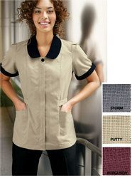 Cute housekeeping shirt with black sleeve cuffs and collar
