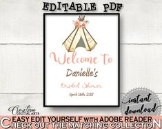 Welcome Sign Bridal Shower Welcome Sign Tribal Bridal Shower Welcome Sign Bridal Shower Tribal Welcome Sign Pink Brown party theme 9ENSG #bridalshower #bride-to-be #bridetobe