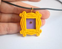 FRIENDS tv show - Yellow peephole frame pendant from polymer clay - Made to order