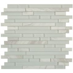 Ice White SES03 White Random Bricks Glass and Stone Glossy & Frosted Tile