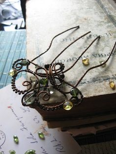 Copper Hair Comb - Metal Hair Fork Comb - Wire Wrapped Hair Accessories - Fairy - yellow green- Nature Inspired - Antique