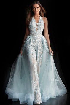 prom jumpsuit Jovani Prom 60124 Sonyas Clothing, Cranston RI, serving all of New England Jumpsuit Prom Dress, Wedding Jumpsuit, V Neck Wedding Dress, Light Blue Wedding Dress, Dress Prom, Wedding Dresses Detachable Skirt, Halter Wedding Dresses, Jumpsuit With Train, Wedding Rompers