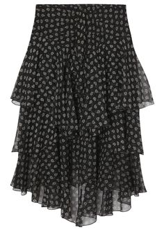 Jason Wu black sheer�silk�chiffon skirt Paisley print, layered cascading front, fully lined Concealed zip and hook fastenings at back 100% silk