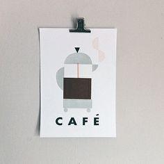 Cafetiere Screenprint by Clare Owen
