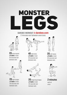 Want visible results from your leg workouts? Check out this Monster Legs Workout routine. This leg routine is not for beginners. Leg Workouts For Men, Leg Workout At Home, Gym Workout Tips, Workout Challenge, Fun Workouts, At Home Workouts, Calisthenics Leg Workout, Leg Workout Routines, Mens Fitness Workouts