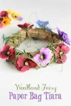 Paper bag tiara - fun for dress up, great spring craft for preschoolers! - Happy Hooligans
