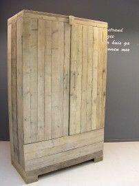 Kledingkast steigerhout met 1 brede schap, 1 hang en 1 grote lade ...