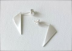 Long Triangle Earring Geometric Stud Sterling by HestiaJewelry...love this modern take on the triangle!