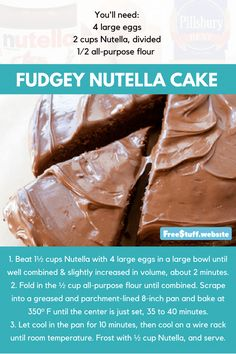 Nutella cake, topped with more Nutella. Large Egg, Large Bowl, Nutella Cake, Pillsbury, Yummy Eats, Cake Recipes, Peanut Butter, Goodies, Xmas