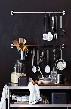 black kitchen wall with accessories via williams-sonoma / sfgirlbybay  summer kitchen