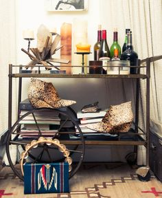 Erin Wasson's bar cart. Tequila and Whiskey. Girl after my own heart.